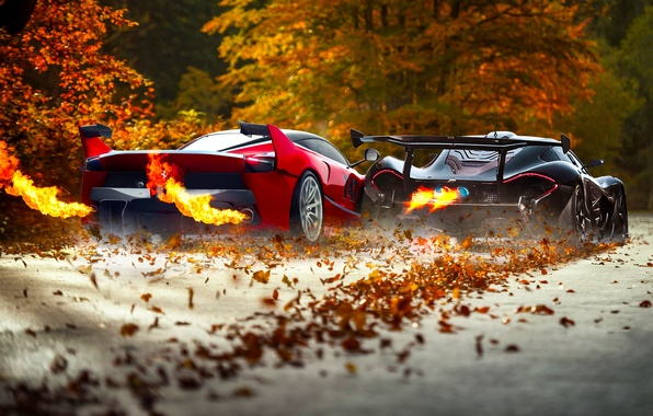 Картинка McLaren, Ferrari, Red, Fire, Black, Supercars, Exhaust, FXX K, Foliage