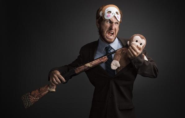 Картинка игрушка, мужик, маска, ружьё
