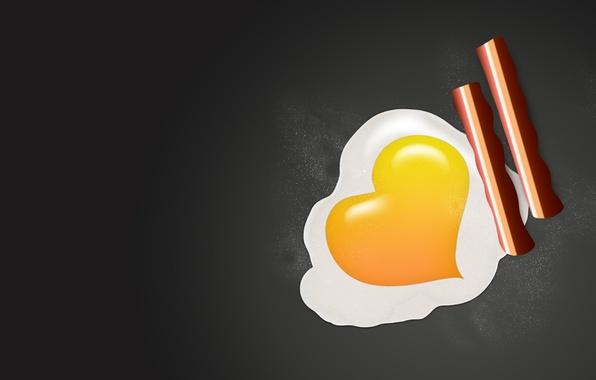 Картинка фон, сердце, яйцо, яичница, желток, глазунья, белок