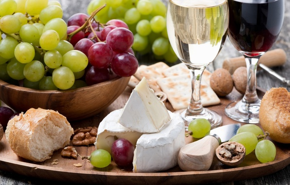 Картинка вино, сыр, ассорти, веноград