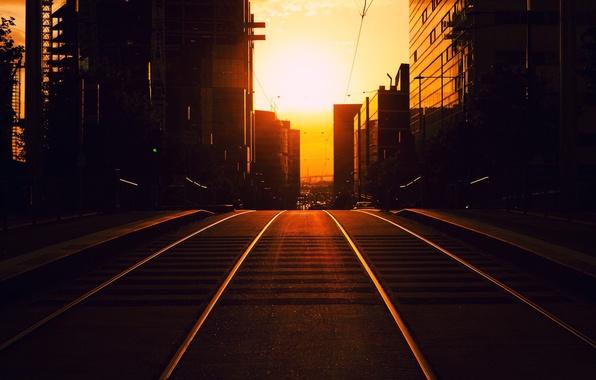 Картинка дорога, солнце, закат, город, восход, улица, здания, вечер, тротуар, sunset, roads, sunrise, streets, buildings, dreams, …