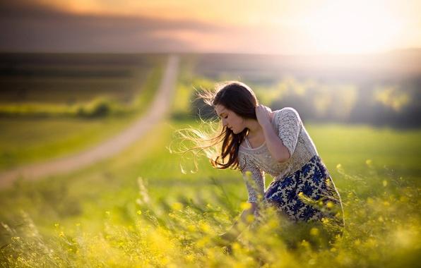 Картинка дорога, поле, девушка, ветер, простор