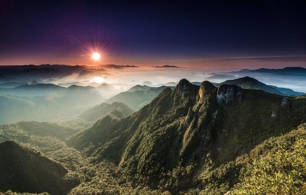 Картинка солнце, пейзаж, горы, долина, панорама