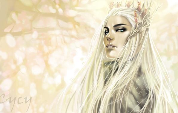 Картинка деревья, фон, эльф, корона, властелин колец, арт, the lord of the rings, Хоббит, The Hobbit, …