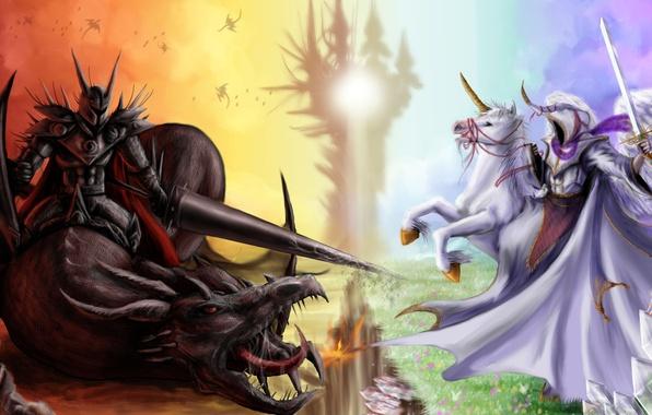 Картинка фантастика, конь, добро, дракон, ангел, меч, доспехи, демон, арт, зло