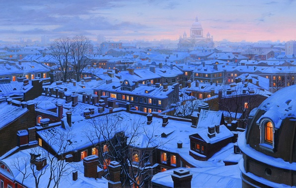 Картинка зима, снег, город, дома, вечер, крыши, Санкт-Петербург, собор, живопись, cathedral, winter, snow, evening, houses, Eugeny …