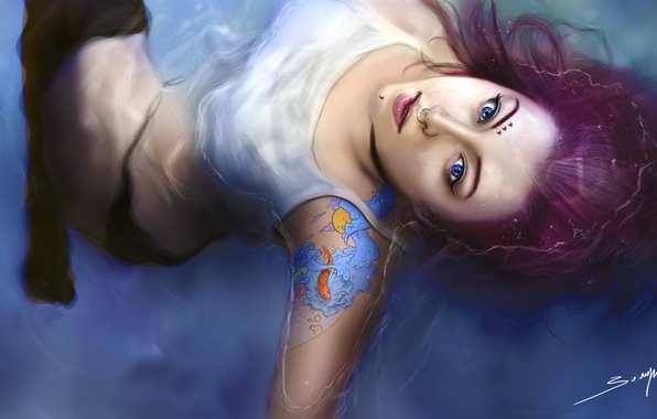 Картинка вода, Девушка, пирсинг, татуировка