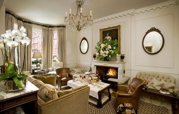 Картинка дизайн, стиль, комната, диван, интерьер, кресла, люстра, картины, камин, зеркала, гостиная, столики
