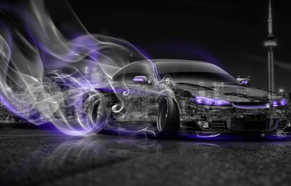 Картинка Ночь, Город, Дым, Неон, Стиль, Ниссан, City, Дрифт, S15, Silvia, Nissan, Drift, Car, Фиолетовый, Photoshop, …