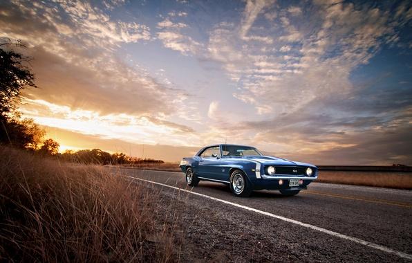Картинка дорога, 1969, Camaro, Classic, chevrolet, blue, American, Muscle небо