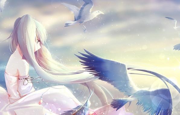 Картинка небо, девушка, облака, свет, птицы, арт, кулон, vocaloid, hatsune miku, вокалоид, holmesa