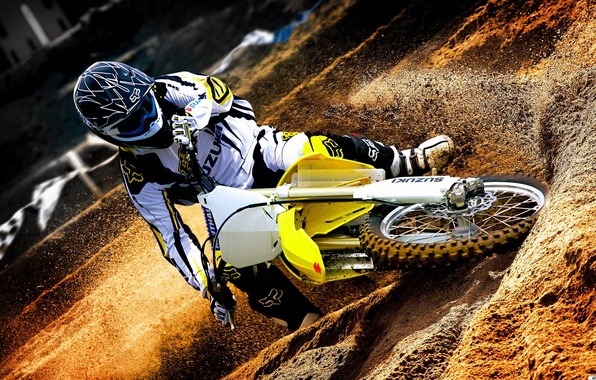 Картинка песок, обои, спорт, грязь, колеса, костюм, мотоцикл, шлем, мотокросс, Suzuki, сузуки, motocross, Suzuki Rm Z450