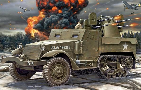Картинка рисунок, арт, стрельба, бомбы, американский, самолёты, М16, бронетранспортёр, WW2, Carrier, Personnel, разрывы, полугусеничный, Half-Track, счетверенная …