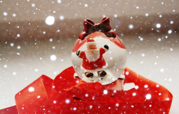 Картинка зима, снег, настроение, праздник, подарок, новый год, шар, red, love, new year, чудо, winter, санта-клаус, ...