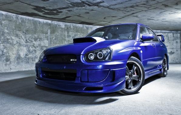 Картинка машина, авто, стена, тоннель, седан, subaru, синяя, wrx, impreza, субару, спортивный, sti, импреза