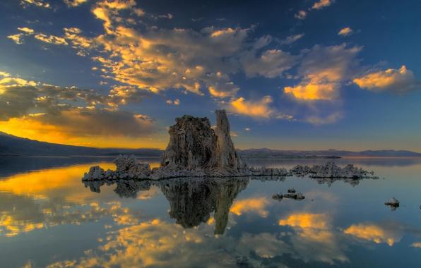 Картинка облака, закат, озеро, отражение, остров