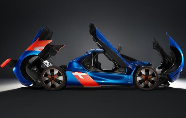 Картинка Concept, двери, капот, концепт, Renault, багажник, полумрак, Рено, вид сбоку, Алпайн, Alpine, A110-50