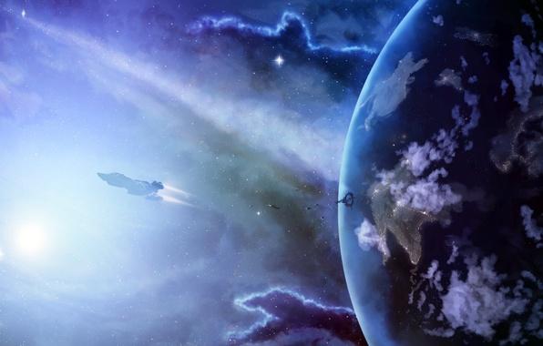 Картинка космос, звезды, поверхность, полет, планета, космический корабль