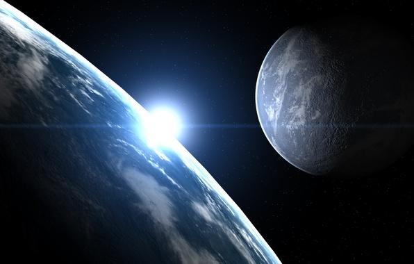 Картинка космос, земля, луна, звезда, планета, спутник