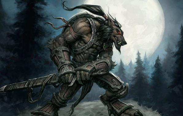 Картинка Луна, Воин, Moon, World of Warcraft, Ворген, Worgen