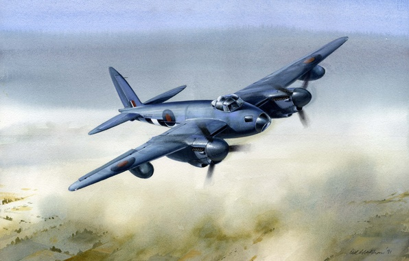 Картинка war, art, painting, drawing, ww2, british airplane, de havilland mosquito