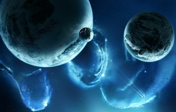Картинка космос, звезды, туманность, планеты, корабли, спутники