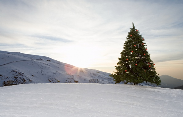 Картинка небо, облака, снег, украшения, горы, шары, игрушки, елка, Зима, ёлка, ёлочные