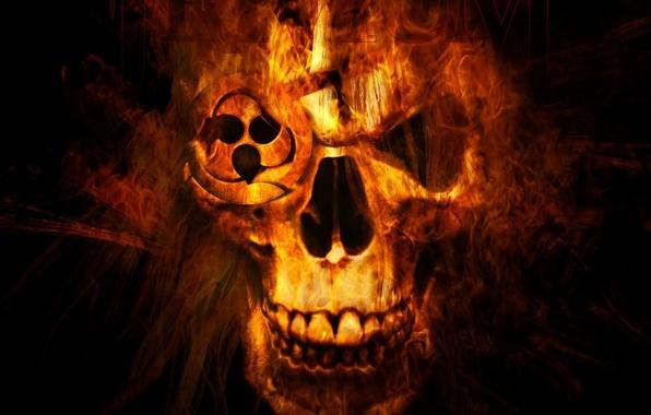 Картинка фон, огонь, чёрный, череп