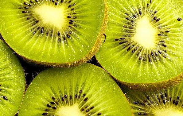 Картинка зеленый, фон, widescreen, обои, еда, семена, киви, ягода, wallpaper, широкоформатные, background, дольки, полноэкранные, HD wallpapers, …
