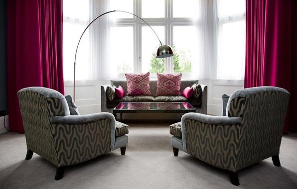 Картинка дизайн, стиль, стол, комната, диван, интерьер, кресло, подушки, занавески, розовые, квартира