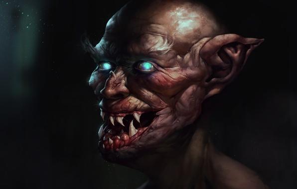 Фото обои старик, вампир, клыки, старый, уши, лицо, глаза