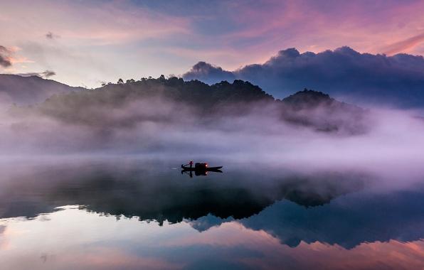 Картинка туман, река, лодка, Китай, Ист-Ривер, провинция Гуандун