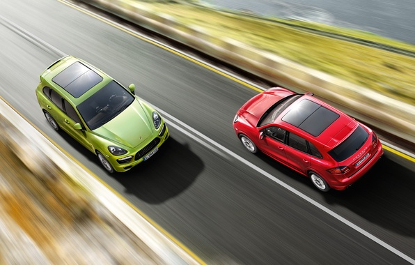 Картинка дорога, красный, скорость, джип, зелёный, Porsche Cayenne