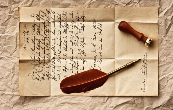 Картинка письмо, ретро, перо, строки, vintage, винтаж, штемпель