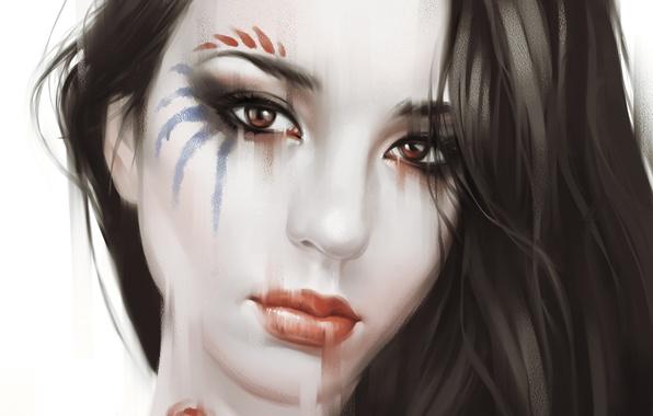 Картинка крупный план, портрет, Девушка, раскраска