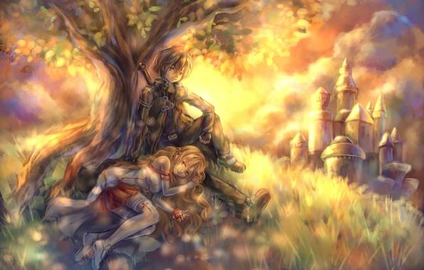 Картинка замок, дерево, меч, холм, арт, пара, девочка, парень, sword art online, yuuki asuna, tandolcedeco, kirigaya …