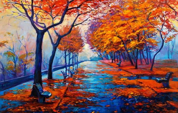 Картинка пейзаж, краски, картина, живопись, landscape, autumn, painting, oil, watercolor