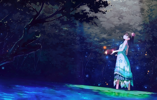 Картинка лес, ручей, магия, огоньки, девочка, книга, art, сарафан, Kantoku