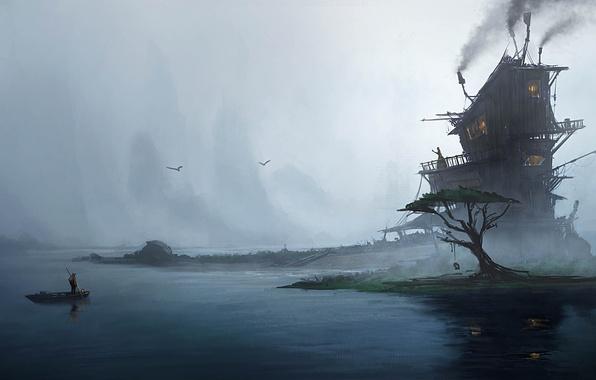 Картинка туман, дом, люди, дерево, лодка, арт, Emmanuel Shiu