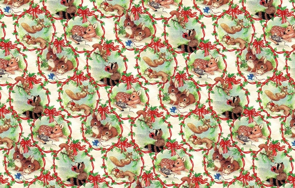 Картинка лес, звери, фон, настроение, яблоко, текстура, олень, мышка, арт, дружба, енот, зайчик, бантик, винтаж, белочка, …