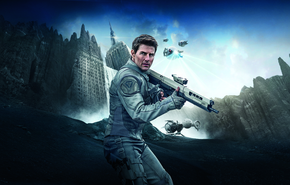 Картинка rock, Sky, Oblivion, Robot, Water, White, Men, The, Waterfall, Flying, Building, Modern, Tom Cruise, Weapons, …