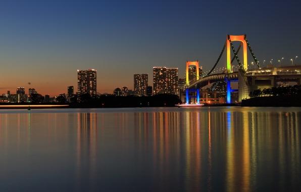 Картинка мост, город, отражение, Япония, Токио, панорама, Tokyo, Japan, Rainbow Bridge