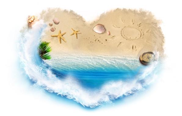Картинка песок, море, вода, брызги, креатив, сердце, ракушки, компас, морские звёзды