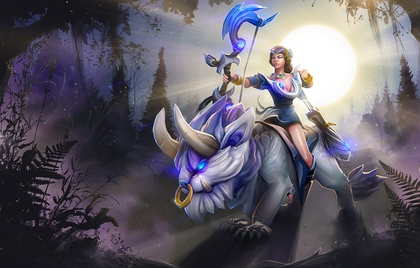Фото обои солнце, dota 2, девушка, mirana, стрелы, Princess of the Moon, лук