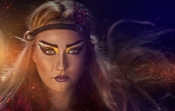 Картинка портрет, макияж, раскраска, Pocahontas