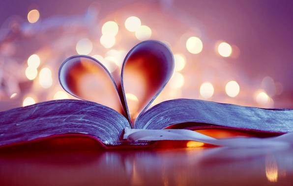 Картинка сердце, книга, сердечко, страницы, боке, закладка