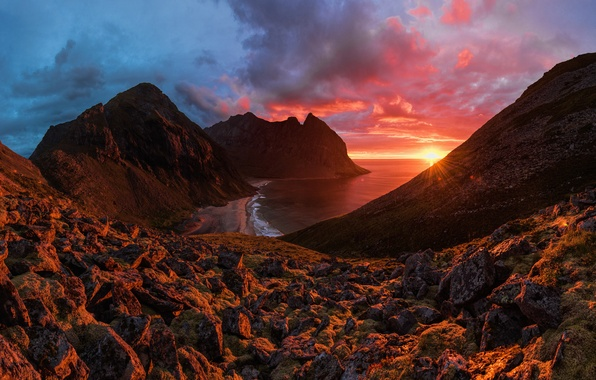 Картинка Red, Clouds, Sky, Landscape, Sun, Sunset, Rain, Landscapes, Mountains, Norway, Sea, Northern, Stones