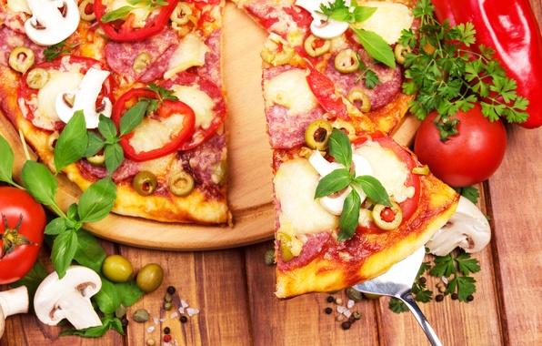 Картинка грибы, сыр, перец, пицца, помидор, оливки, колбаса, pizza, специи, cheese, pepper, tomato, spices, sausage