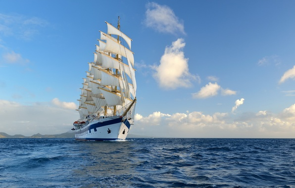 Картинка океан, ветер, корабль, паруса, ocean, ship, boats, wind, sail