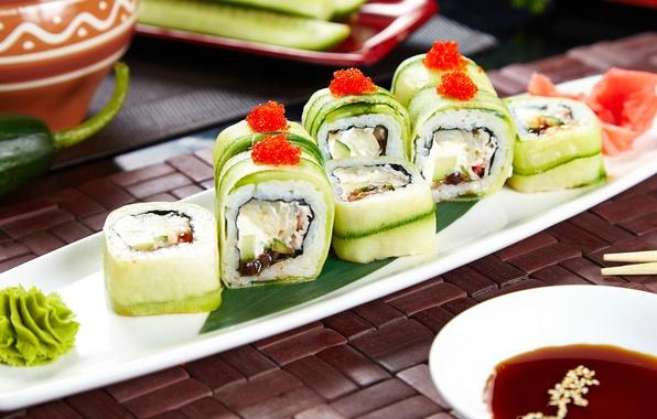 Картинка огурец, соус, суши, роллы, васаби, начинка, вегетарианский
